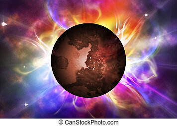 Red planet with aura