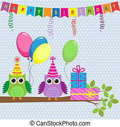 Vector birthday card with cute owls