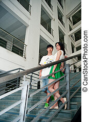 Both male and female students in the teaching building