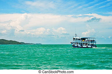 wooden ferry boat in thailand