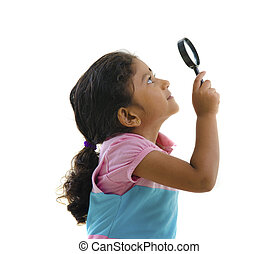 indian girl with magnifying glass
