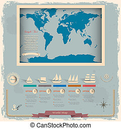 Retro style world map with nautical design elements.Vector...
