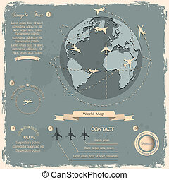 Retro style design with aircrafts and Globe. Vector eps10