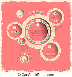 Pink web design bubbles in vintage style