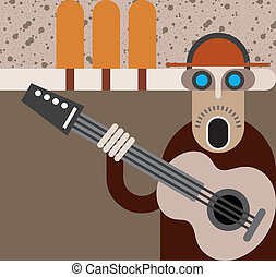 Musician - vector illustration - Man singing and playing...