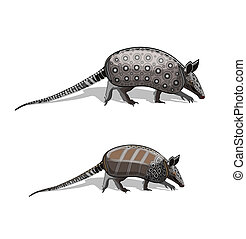two armadillo male and female in motion)