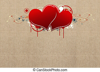 Heart with carton paper background