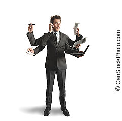 Businessman multitasking - Businessman stressed by too many...
