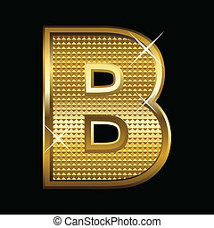 Golden font type letter B