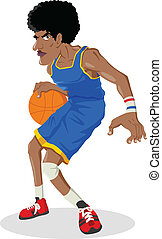 Basketball Player - Cartoon illustration of a black man...