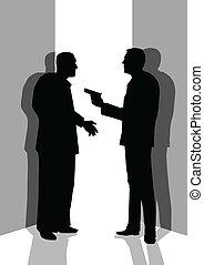 Threaten - Silhouette illustration of a man threatening...