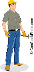 Construction Worker - Illustration of a construction worker