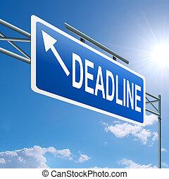 Deadline concept - Illustration depicting a highway gantry...