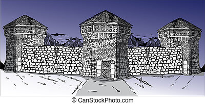 medieval fortress - Medieval fortress with guard towers and...
