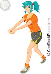Girl Playing Volley - Cartoon illustration of a girl playing...