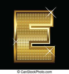 Golden font type letter E