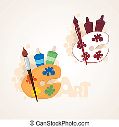 Art palette with paint brush and paint