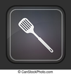 Vector version slotted kitchen spoon icon Eps 10...