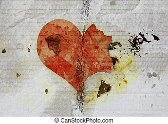 burned and tear heart on paper background