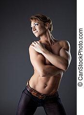 Heavy body builder woman portrait
