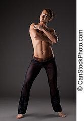Heavy body builder woman portrait posing topless