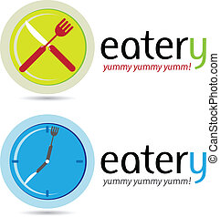 Eatery - Two very modern restaurant business emblems in...
