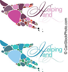 Helping Hand Emblems - Two modern emblems with stylized...