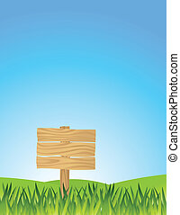 grass with blank sign