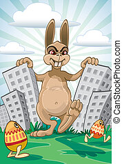 Easter coming - Demonic Easter Bunny coming with painted...