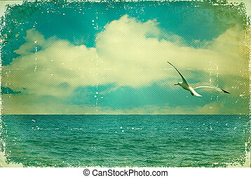 Vintage nature seascape with seagull in blue sky on old...