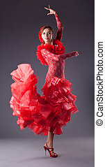 woman flamenco dancer in red costume - one woman dance...