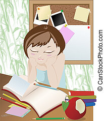 Homework - Girl studying in the room