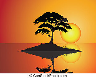 Tree Silhouette with grass and wate