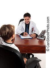 doctor, o, terapeuta, niño