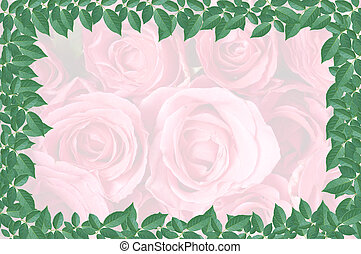 green leaf isolated on pink rose  background