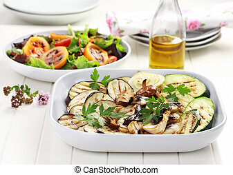 Grilled vegetables and salad with tamarillos - Grilled...