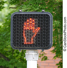 Pedestrian Light - A pedestrian signal indicating it is not...