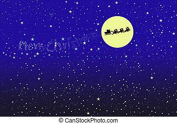 santa on the moon background