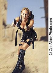 woman holding two hand gun - Sexy beautiful dangerous woman...
