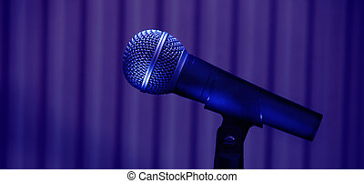 Microphone - Stage microphone details on purple background...