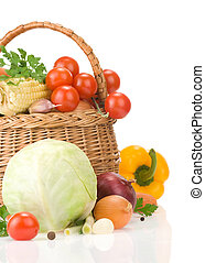 healthy vegetable food and basket isolated on white...