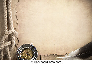 ropes and compass on old vintage ancient paper texture -...