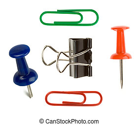 close up pushpin and paper clip on white background