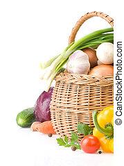 蔬菜, 健康, 被隔离, 食物, 籃子, 白色