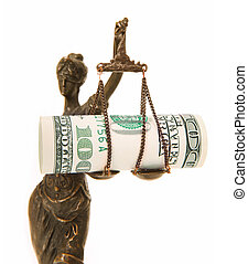 Bribed Themis - A picture of a Themis statue with dollar...