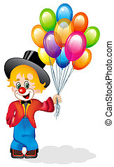 merry clown coststands with air ball - illustration merry...