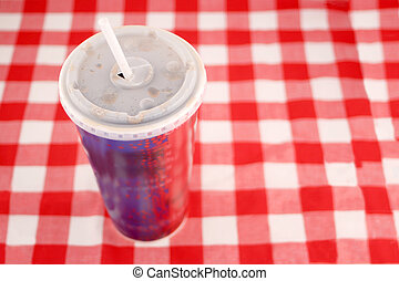 takeout soft drink - a soft drink in a takeout paper cup...