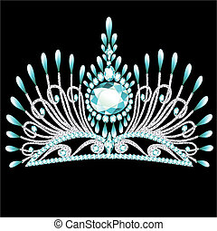 diadem corona feminine wedding with blue stone