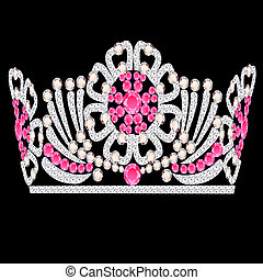diadem crown feminine wedding with rose stone - illustration...