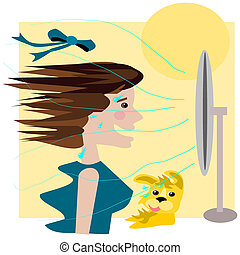 Summer fan - Cartoon illustration of a lady and her pet dog...